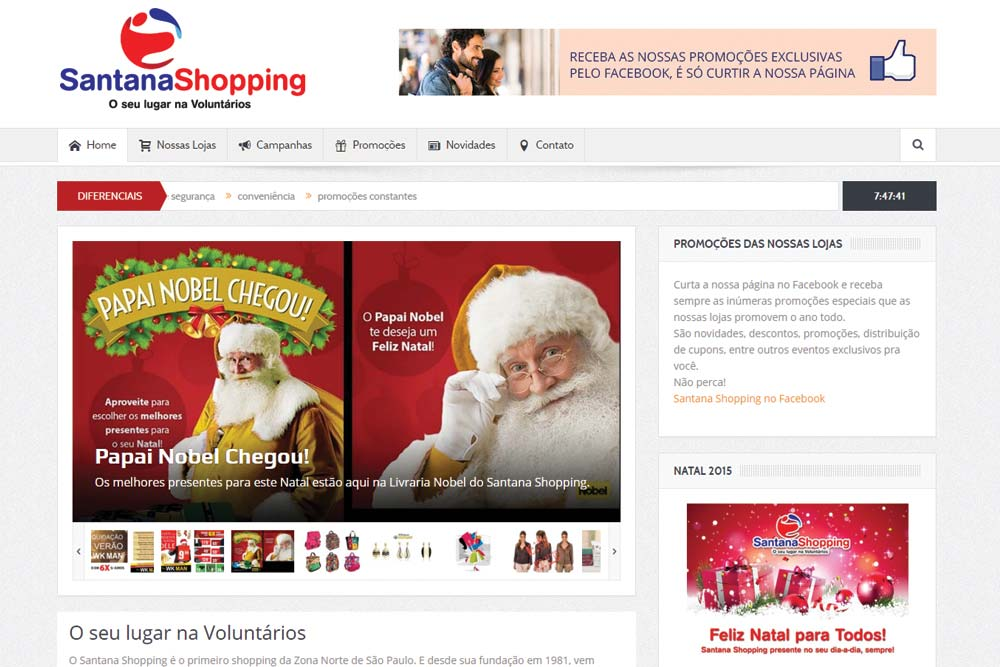 Criação do site do Santana Shopping