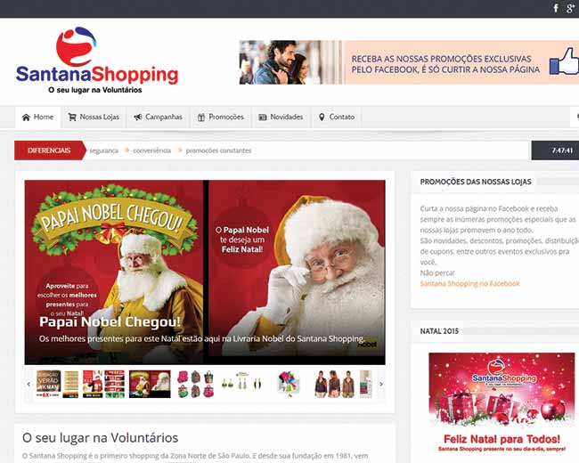 Site do Santana Shopping