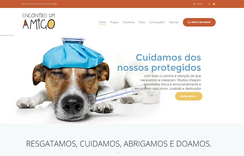 Criação de site para Encontrei um Amigo – resgate e adoção de animais abandonados