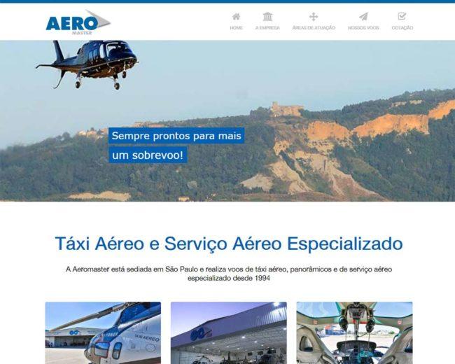 Criação de site e landing page para a Aeromaster Táxi Aéreo