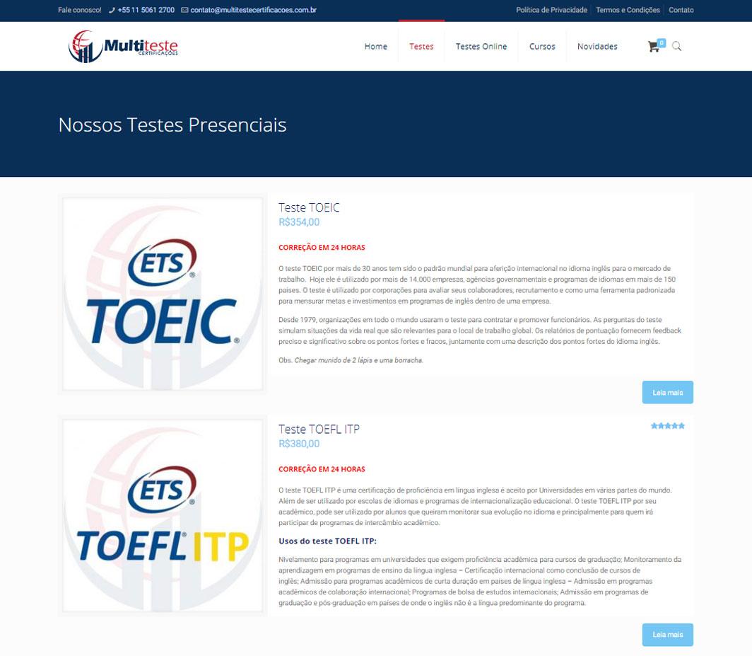 Criação de E-Commerce para empresa de testes de proficiência